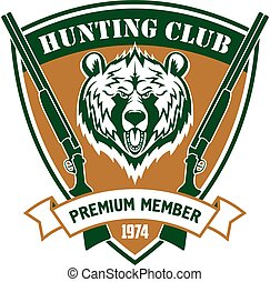 Hunting club member vector isloated shield sign