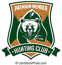 Hunting club premium member vector isloated sign