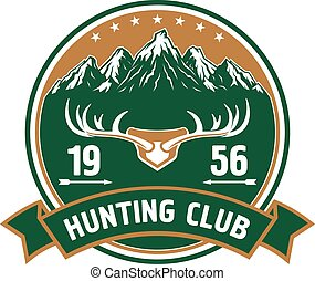 Hunting club round badge with deer antlers