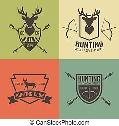 Hunting club set of vector vintage emblems