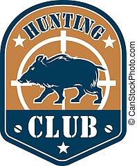 Hunting club shield badge with wild boar