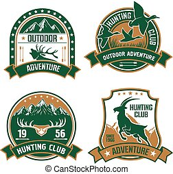 Hunting club shields icons set