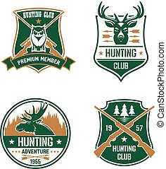 Hunting club shields set. Hunt sports emblems