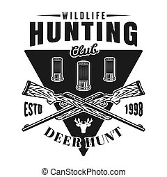 Hunting club vector emblem with two crossed rifles