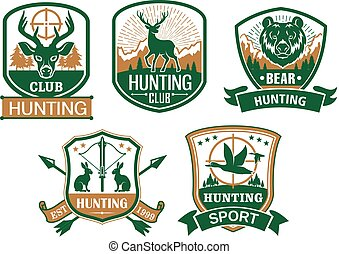 Hunting club vector icons or badges set