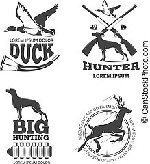 Hunting club vintage vector labels, emblems, logos, badges set
