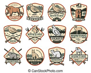 Hunting club, wild animals and ammo icons - Hunter club or...