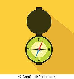 Hunting Compass flat icon. Cartoon style. Vector illustration.