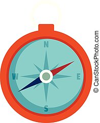 Hunting compass icon, flat style