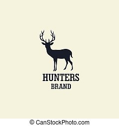 Hunting Deer Logo, Icon, Sign Silhouette Vector Design