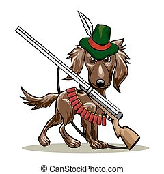 Hunting dog - Humorous illustration of dog in a hunter hat...