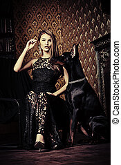 hunting dog with owner - Beautiful lady with her dog in a ...