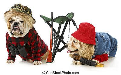 hunting dogs - american cocker spaniel and english bulldog...