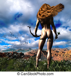 Hunting Edens Edge Illustration - Wind blowing through her...