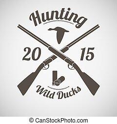 Hunting Emblem - Hunting Vintage Emblem. Cross Hunting Gun...
