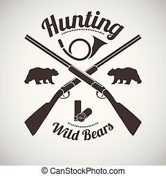 Hunting Emblem - Hunting Vintage Emblem. Cross Hunting Gun ...