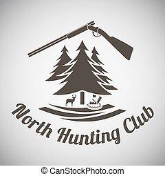 Hunting Emblem - Hunting Vintage Emblem. Opened Hunting Gun...