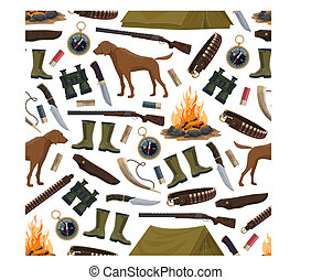 Hunting equipment and ammo seamless pattern