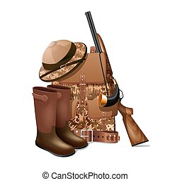 Hunting equipment retro icon - Vintage hunting equipment...