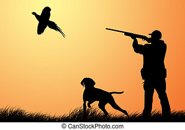 Hunting for a pheasant - The hunter with a dog hunts on a ...