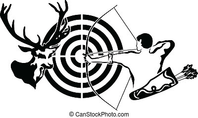 Hunting for deer, archer and target deer, black stencil