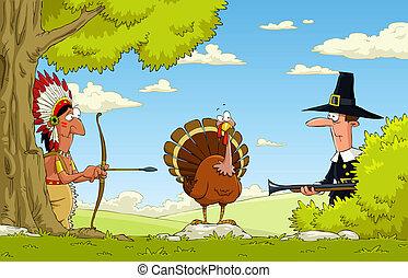 Native American and pilgrim turkey hunt, vector