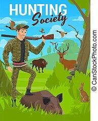Hunting, forest deer, wild animals, hunter rifle