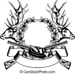hunting frame with hat - Vector illustration elk hedas oak...