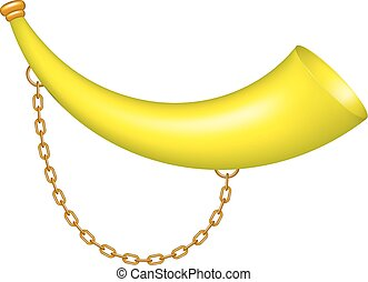 Hunting horn in yellow design with golden chain on white...