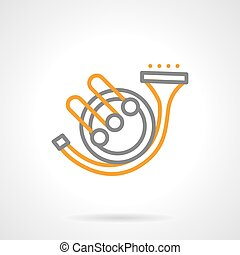 Hunting horn music simple line vector icon