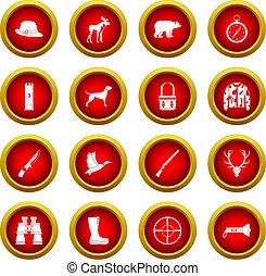 Hunting icon red circle set