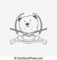 hunting icon with a bear and guns