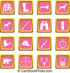 Hunting icons pink