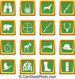 Hunting icons set green
