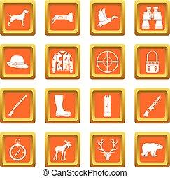 Hunting icons set orange