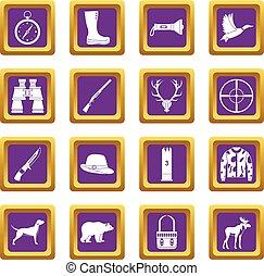 Hunting icons set purple
