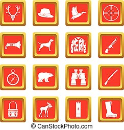 Hunting icons set red