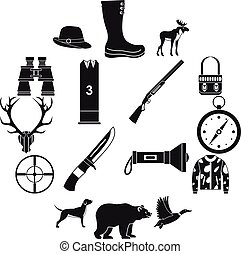 Hunting icons set , simple style