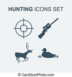 Hunting icons set. Vector illustration