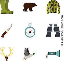 Hunting in forest icons set, flat style