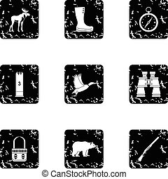 Hunting in forest icons set, grunge style
