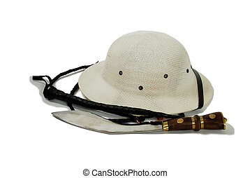 Hunting knife, whip and Pith Helmet - Large hunting knife ...