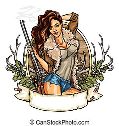 Hunting label with pretty woman holding shot gun, isolated...
