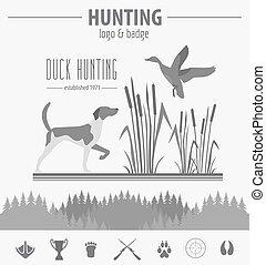 Hunting logo and badge template. Dog hunting, equipment. Flat design. Vector illustration