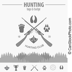 Hunting logo and badge template. Equipment. Flat design. Vector illustration