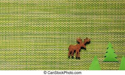 hunting on a deer - hunter shoot on a deer minimal concept...