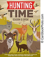 Hunting open season, forest wild animals and birds