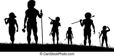 Hunting party - Editable vector silhouettes of cavemen...