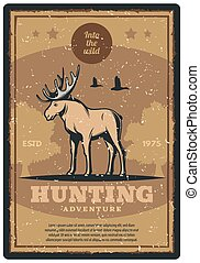 Hunting retro poster for hunter sport club design