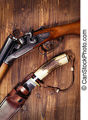 Hunting rifle and knife